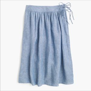 EUC: J. Crew Chambray Skirt with side ties